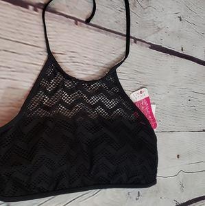 Hula Honey Crochet Swim Halter Bikini Top Sz XL